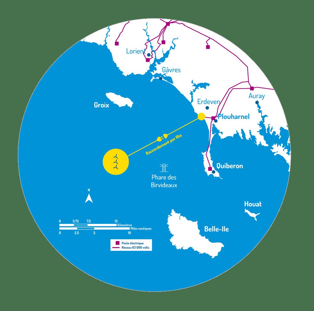 Carte montrant l'implantation de la ferme de trois éoliennes au sud de Groix, nord-ouest de Belle-Île, ouest-nord-ouest du phare des Birvideaux.