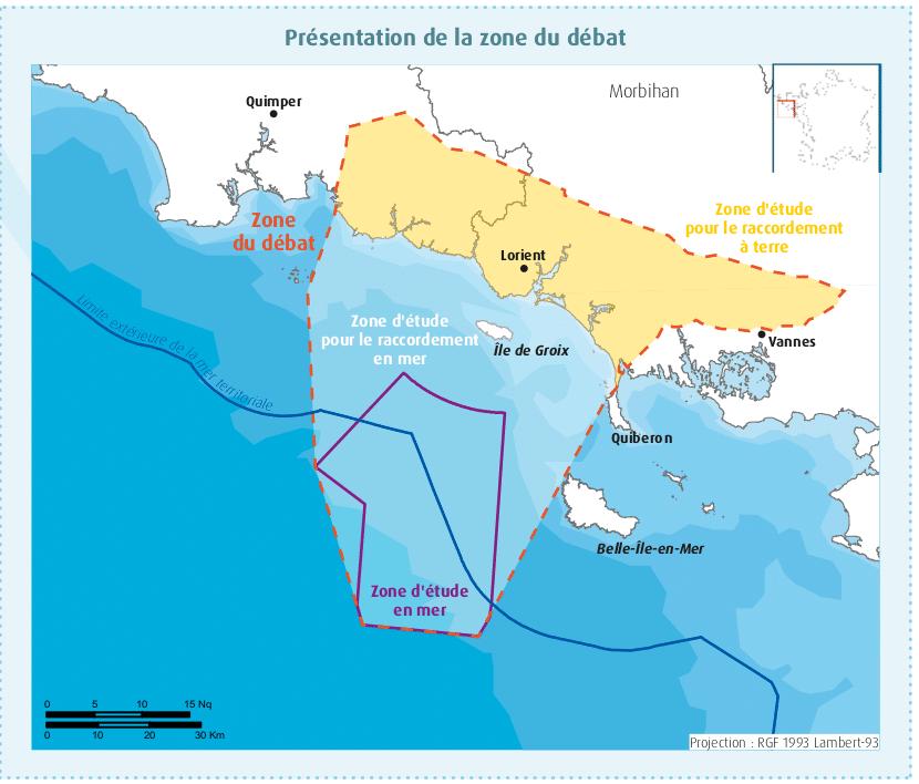 Carte de la zone de débat public sur l'éolien flottant au large de Groix et Belle-Île. Cette carte montre deux zones de débat : celle d'implantation des éoliennes flottantes et celle d'atterrage des câbles au niveau de la côte.