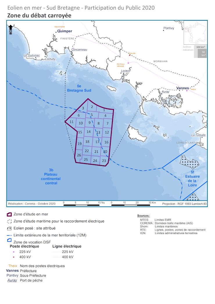 Zone carroyée au sud de Groix et ouest de Belle-Île montrant les 26 parcelles possibles d'implantation des fermes d'éoliennes