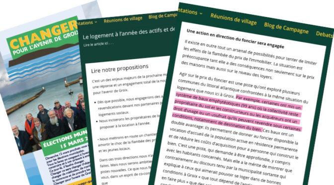 Quand le Maire de Groix applique le programme électoral de l'opposition